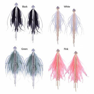 1 Pair Bohemia Long Tassel Feather Dangle Handmade Earrings Women Lady Girls Vintage Crystal Club Party Ear Stud Fashion Popular Gift Accessories Jewelry-Women Earrings-inSowni