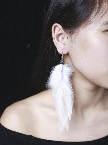 1 Pair Bohemia Silver Long White Feather Long Hook Dangle Handmade Earrings Women Lady Girls Vintage Club Party Ear Stud Fashion Popular Gift Accessories Jewelry-Women Earrings-inSowni