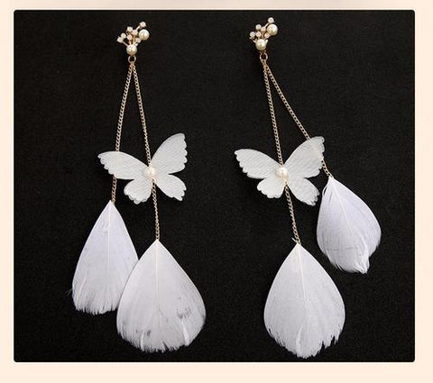 1 Pair Bohemia White Feather Butterfly Pearl Long Dangle Handmade Earrings Women Lady Girls Bride Wedding Club Party Ear Stud Fashion Popular Gift Accessories Photography Jewelry-Women Earrings-inSowni