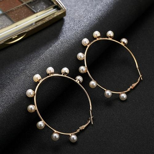 1 Pair Circle Imitation Pearls Gold Earrings Women Lady Girls Club Party Beach Holiday Fringe Dangle Ear Stud Fashion Popular Gift Accessories Jewelry-Women Earrings-inSowni