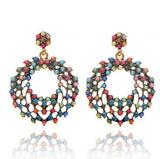 1 Pair Colorful Beads Retro Bohemia Crystal Circle Earrings Women Lady Girls Vintage Rhinestone Club Party Ear Stud Fashion Popular Gift Accessories Handmade Jewelry-Women Earrings-inSowni