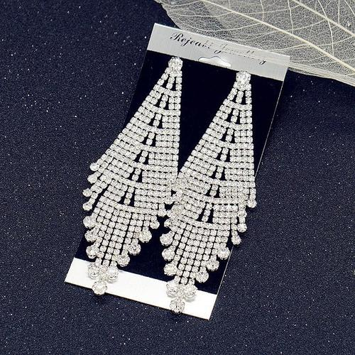 1 Pair Crystal Earrings Women Lady Girls Vintage Tassel Long Dangle NightClub Party Ear Stud Fashion Popular Gift Accessories Wedding Jewelry-Women Earrings-inSowni