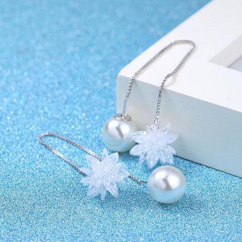 1 Pair Crystal Flower Pearl Long Earings Women Lady Girls Club Party Long Chain/Link Ear Stud Fashion Popular Gift Accessories Jewelry-Women Earrings-inSowni