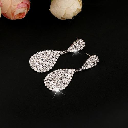 1 Pair Elegant Drop Rhinestone Long Dangle Earrings Bride Women Lady Girls Club Party Ear Stud Fashion Popular Gift Accessories Wedding Jewelry-Women Earrings-inSowni