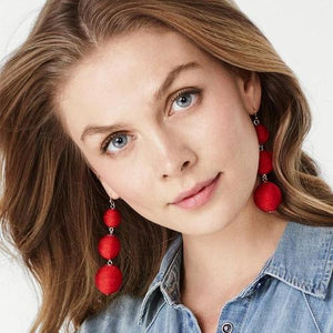 1 Pair Ethnic Multicolor Woolen Ball Long Dangle Earrings Women Lady Girls Vintage Club Party Ear Stud Fashion Popular Gift Accessories Handmade Jewelry-Women Earrings-inSowni