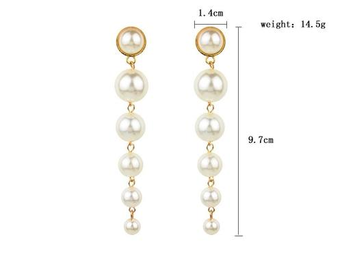 1 Pair Pearl Earings Women Lady Girls Vintage Long Dangle Club Party Ear Stud Fashion Popular Gift Accessories Jewelry-Women Earrings-inSowni