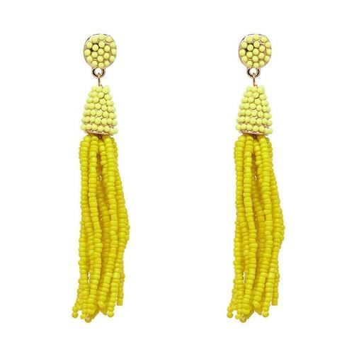 1 Pair Retro Bohemia Beads Tassel Long Dangle Earings Women Lady Girls Vintage Club Party Ear Stud Fashion Popular Gift Accessories Jewelry-Women Earrings-inSowni