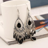 1 Pair Retro Bohemia Long Hook Dangle Handmade Earrings Women Lady Girls Vintage Crystal Club Party Ear Stud Fashion Popular Gift Accessories Jewelry-Women Earrings-inSowni