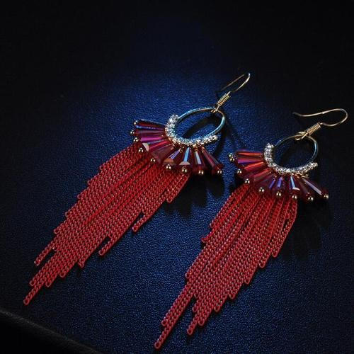 1 Pair Retro Bohemia Tassel Long Hook Dangle Earings Women Lady Girls Vintage Club Party Ear Stud Fashion Popular Gift Accessories Jewelry-Women Earrings-inSowni