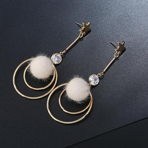 1 Pair Retro Hair Bulb Crystal Circle Long Dangle Earrings Women Lady Girls Vintage Club Party Ear Stud Fashion Popular Gift Accessories Jewelry-Women Earrings-inSowni