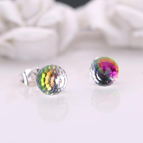 1 Pair Silver 6mm Crystal Ball Earrings Women Lady Girls Club Party Ear Stud Fashion Popular Gift Accessories Jewelry-Women Earrings-inSowni