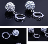 1 Pair Silver Ball Earings Women Lady Girls Crystal Club Party Hoop Lever back Ear Stud Fashion Popular Gift Accessories Jewelry-Women Earrings-inSowni