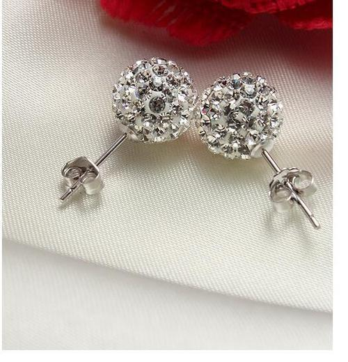 1 Pair Silver Ball Earrings Women Lady Girls Crystal Club Party Sterling Ear Stud Fashion Popular Gift Accessories Wedding Jewelry-Women Earrings-inSowni