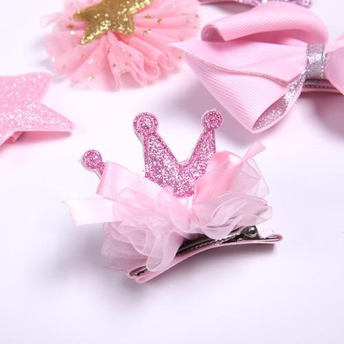 10 PCS/ Set/Pack Bow Flower Crown Star Hair Clip Pins Barrettes with Gift Present Box for Baby Girl-inSowni