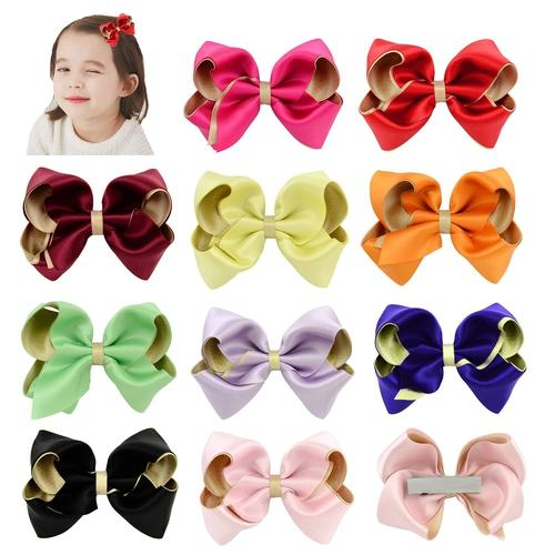 "10 Pcs/Lot 3.5"" Bi-color Hair Bow with Covered Clips for Baby Girl Kids Barrettes Hair Accessories-inSowni"
