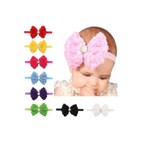 10PCS/Lot Lace Rose Flower with Rhinestone Pearls Headband Hair Band Bow for Baby Girl Kids DIY-inSowni