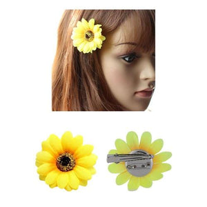12 Pack Artificial Daisy Sunflower Hair Pins Alligator Clips Hair Barrettes Wedding Bridal Hawaiian Party Silk Flower Headpiece-inSowni