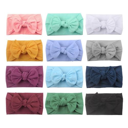12 PACK Elastic Stretchy Super Soft Nylon Wide Bowknot Baby Headbands Hairband Bows Knot Turban Headwraps Hair Bows Accessories-Headbands-inSowni