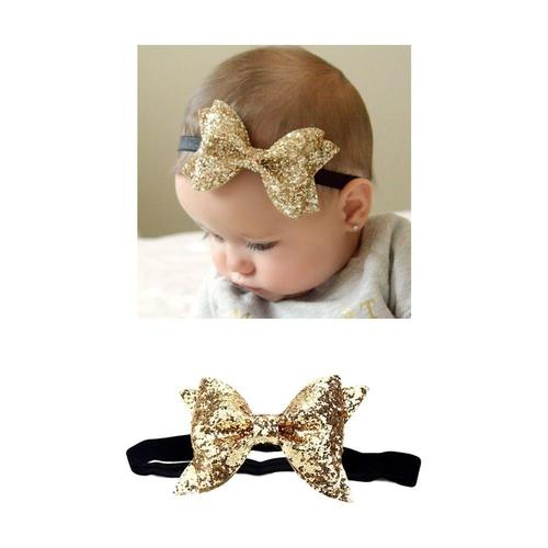 12 Pack Glitter Sparkly Sequins Leather Headbands Elastic Slim Hair Band Bow Headwear Gold Silver Accessories for Baby Girls-Headbands-inSowni