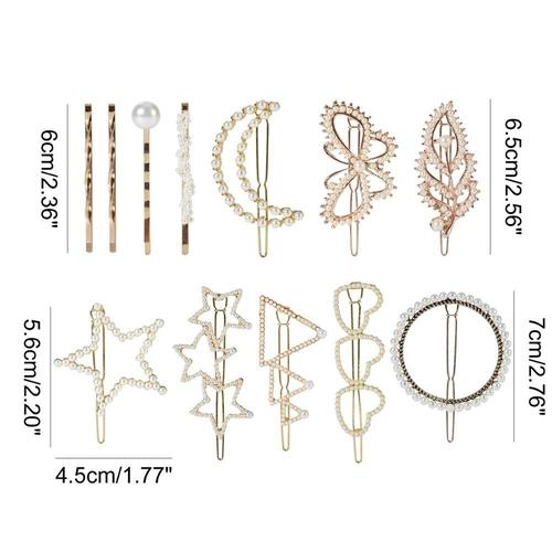 12 Pack Gold Vintage Triangle Circle Moon Butterfly Leaf Minimalist Pearl Metal Hair Clip Bobby Pins Hairpins Wedding Party-Women Hair Clips-inSowni