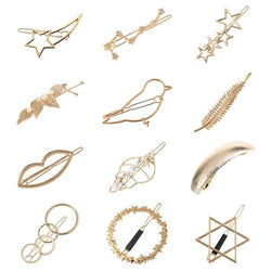 12 Pack Trendy Gold Vintage Retro Geometric Minimalist Metal Hair Clip Snap Barrette Claw Bobby Pins Alligator Pearl Hairclip-Women Hair Clips-inSowni