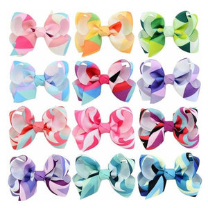 "12 Pcs/Lot 3"" Inch Colorful Rainbow Bow Hair Clips Baby Girl Toddlers Kids Children Hair Accessories-inSowni"