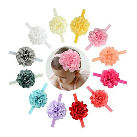 "12 PCS/Lot 3.8"" Peony Flower Headband Hair Band Baby Girl Toddlers Kids Children DIY Accessories-inSowni"
