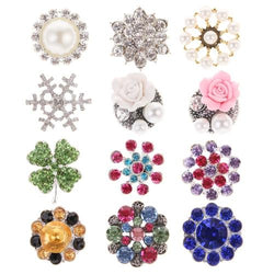 12 PCS/Lot Glitter Sparking Alloy Button with Crystal Rhinestone Pearl DIY Hair for Clips Headbands-inSowni