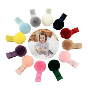 "12 Pcs/Lot Pompom Ball 0.8"" Hair Bow with Covered Alligator Clips for Baby Girl Kids Hair  Barrettes-inSowni"
