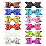 12 PCS/Lot Sequin Glitter Bow Hair Accessories Alligator Clips Barrettes DIY Pins Baby Girl Kids Women-inSowni