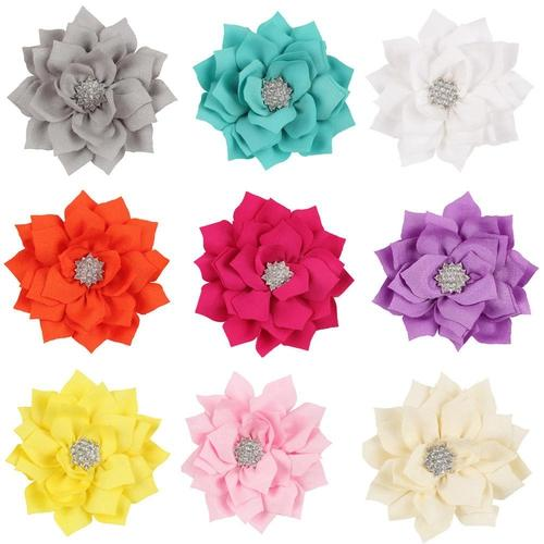 12pcs Baby Girl Kids Children Lotus Flower with Rhinestone Hair Bow Clips Barrettes Pins Headdress-inSowni