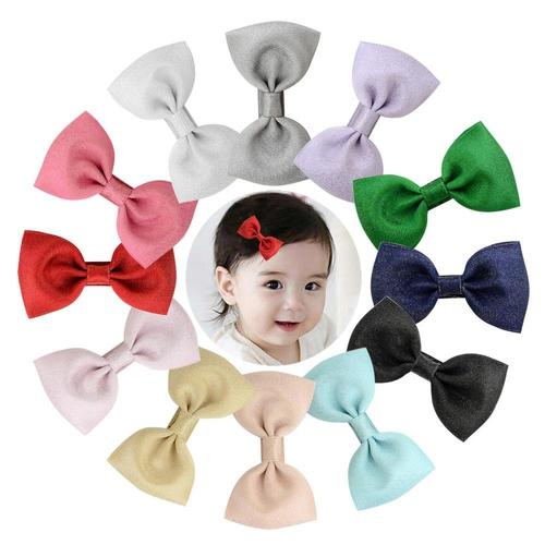 "12pcs/Lot 2.8"" Grosgrain Alligator Solid Hair Bow Clips Pins Barrettes Accessories for Baby Girls Kids-inSowni"
