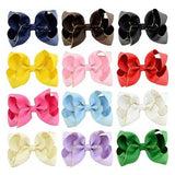 "12pcs/Lot 4"" Inch Grosgrain Alligator Solid Hair Bow Clips Pins Barrettes for Baby Toddler Girls Kids-inSowni"