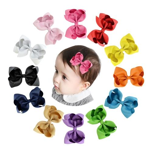 "12pcs/Lot 4.3"" Inch Grosgrain Rainbow Alligator Hair Bow Clips Pins Barrettes for Baby Girls Kids-inSowni"