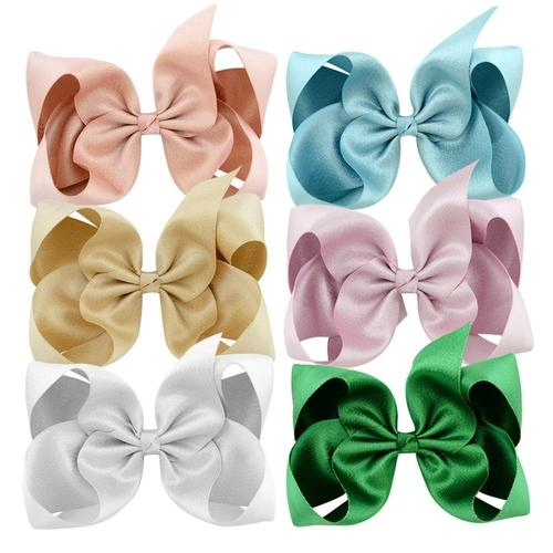 "12pcs/Lot 6"" Inch Alligator Solid Big Hair Bow Clips Pins Barrettes Accessories for Baby Girls Kids-inSowni"