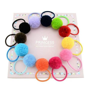 12pcs/Lot Pompom Ball Stretch Hair Ties Rope Ring Band Ponytail Holder Headbands for Baby Kids-inSowni