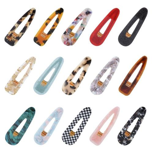 15 Pack Acrylic Resin Acetate Acid Triangle Vintage Hair Clips Leopard Barrettes Hairpins Metal Alligator Snap Pin Duckbill Grip-Women Hair Clips-inSowni