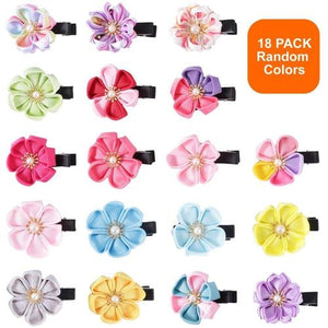 18 Pack Bulk Mini Small Cute Glitter Pearl Flower Hair Bow Clips Barrettes Alligator Lined Snap Ribbon Pigtail Holder for Baby-Hair Clips-inSowni