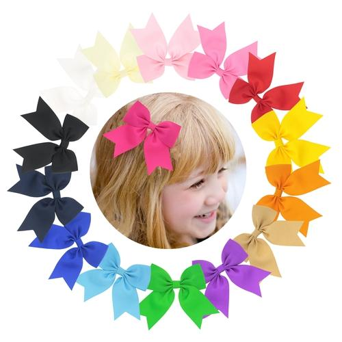 "1PC 3.5"" Solid Hair Bow Clips Hairpins Barrettes Accessories for Baby Toddler Girls Kids Children-inSowni"