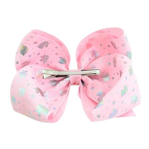 "1pc 8"" Heart Unicorn Print Alligator Hair Large Big Bow Clips Pins Barrettes Baby Toddler Girls Kids-inSowni"