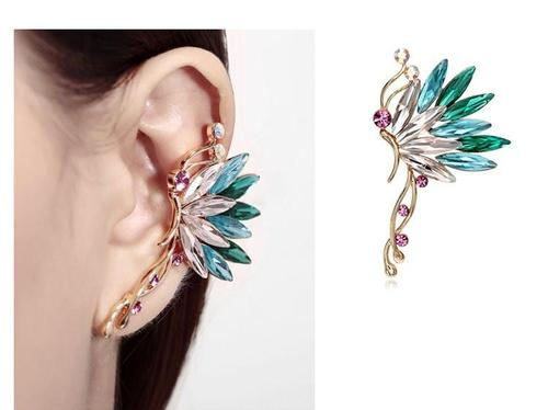 1pc Women Lady Girls One Side Crystal Rhinestone Butterfly Ear Stud White Colorful Earrings Ear Clip Party Club Fashion Popular Gift Accessories Jewelry-Women Earrings-inSowni