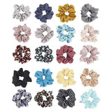 20 Pack Soft Chiffon Scrunchies for Hair Ties Satin Fabric Covered Bobbie Scrunchy Hair Elastic Band Ponytail Holder-Hair Ties-inSowni