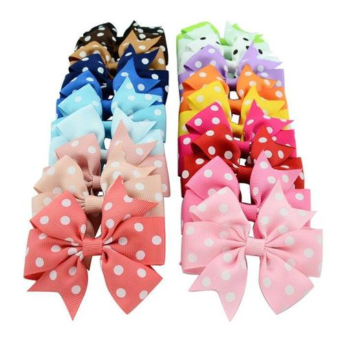"20 Pcs/Lot 3"" Alligator Polka Dot Hair Bow Clips for Baby Girl Kids Barrettes Hair Accessories-inSowni"