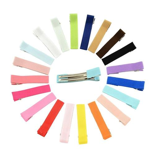 20pcs Solid Grosgrain Half Colvered Hair Clips Barrettes DIY  for Baby Girl Toddlers Kids Infant-inSowni