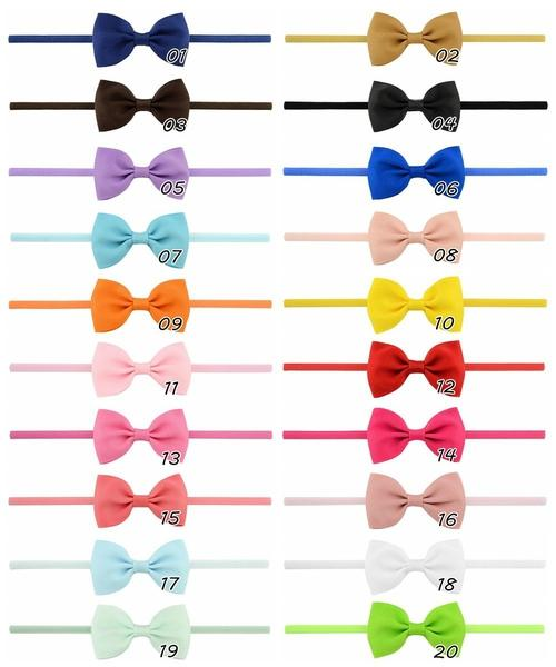 "20pcs/Lot 2.8"" Grosgrain Solid Hair Bow Bands Headbands Accessories Hairband Flower for Baby Girl Toddlers Kids Children-inSowni"