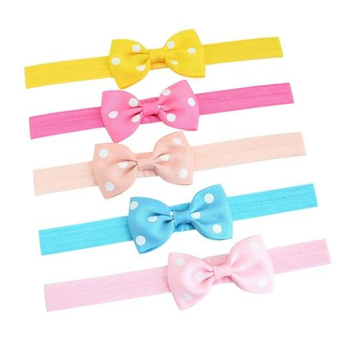 "20pcs/Lot 2.8"" Polka Dot Hair Bow Bands Headbands Accessories Hairband Flower for Baby Girl Kids-inSowni"