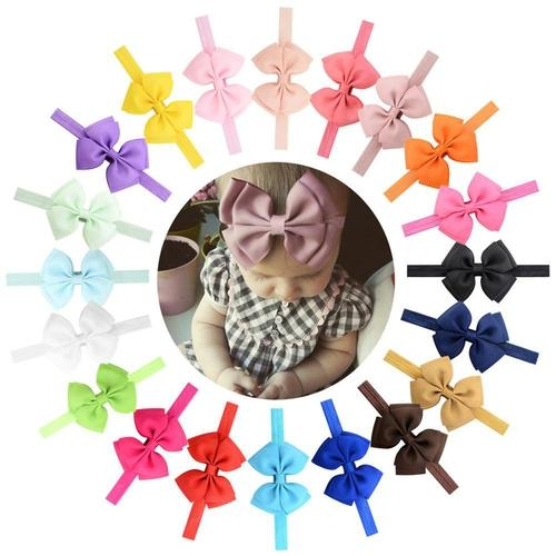 "20pcs/Lot 3"" Headdress Solid Hair Bow Bands Headbands Accessories Hairband Flower for Baby Girl-inSowni"