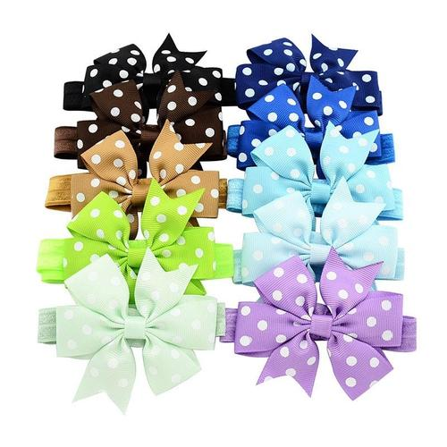 "20pcs/Lot 3"" Polka Dot Hair Bow Headbands Accessories Hairband Flower for Baby Girl Kids Children-inSowni"