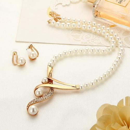 2pcs Girls Women Alloy Crystal Pearl Necklace Earrings Ear Stud Wedding Party Sweater Chain Set-Women Necklaces-inSowni