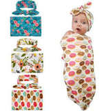 2pcs Newborn Baby Girl Flower Headband Swaddle Receiving Blanket Sleeping Bag Muslin Wrap Clothes-inSowni